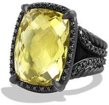 David Yurman Chatelaine Ring with Lemon Citrine and Black Diamonds