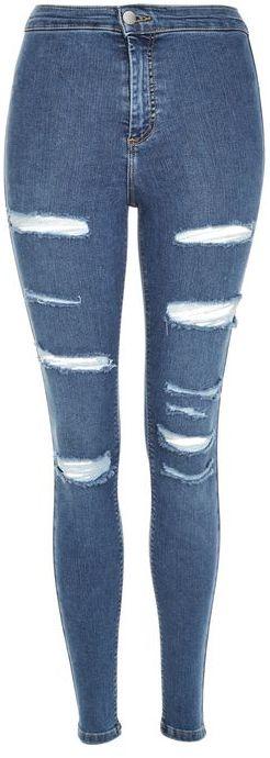 TopshopTopshop Moto blue super ripped joni jeans