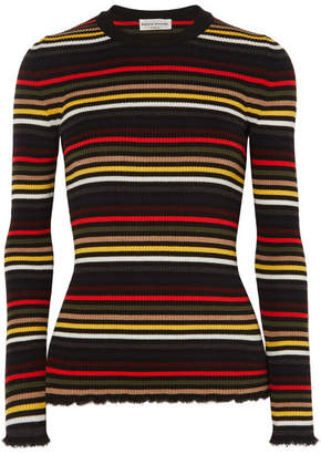 Sonia Rykiel Frayed Striped Ribbed Wool Sweater - Red