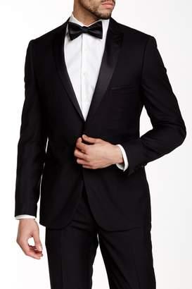 Paisley & Gray Black Solid Slim Fit Peak Lapel One Button Tuxedo Jacket