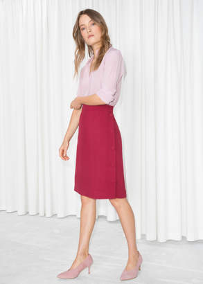 And other stories High Waist Side Button Skirt