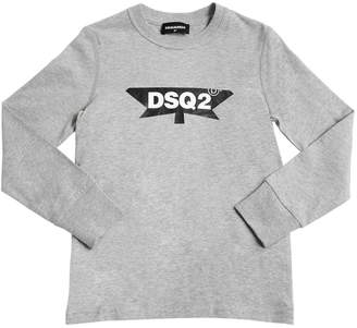 DSQUARED2 Logo Cotton Jersey Long Sleeve T-Shirt