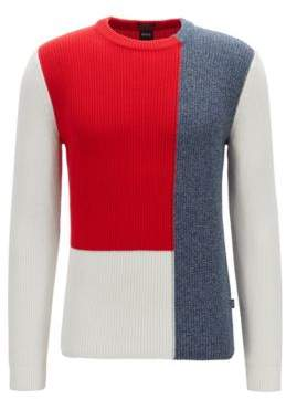 Regular-fit sweater in cotton with colour-block construction