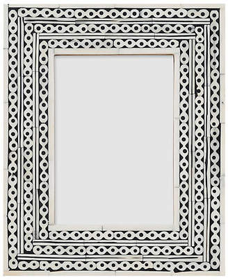 One Kings Lane 5x7 Maddox Inlay Picture Frame - Black/Ivory