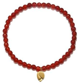 Satya Jewelry Womens Carnelian Gold Lotus Stretch Bracelet