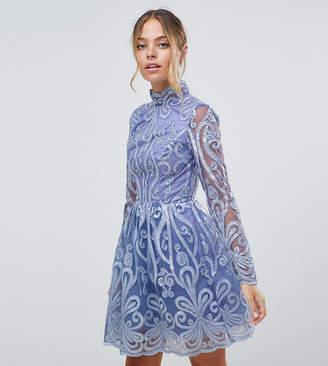 Chi Chi London Petite embellished sequin mini skater dress