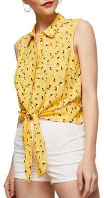 Miss Selfridge Sleeveless Tie-Front Shirt