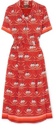 Markus Lupfer Bobbie Floral-print Silk-crepe Midi Dress - Red