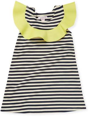 Halabaloo Ruffle Neck Striped Dress