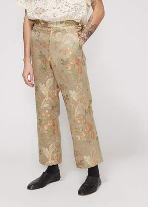Bode Cream Tapestry Side-Tie Trouser