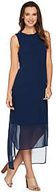 Halston H by Sleeveless Knit Maxi Dress withChiffon Overlay