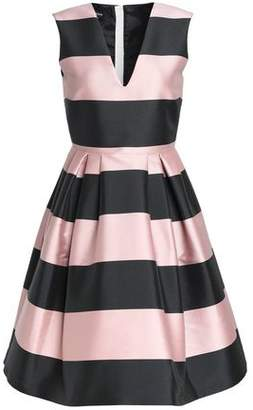 Rochas Pleated Striped Duchesse Satin Dress