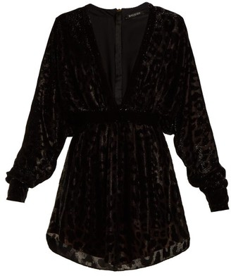 Balmain Batwing Sleeved Fil Coupe Velvet Mini Dress - Womens - Black