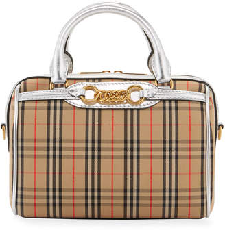 Burberry Link Vintage Check Bowling Small Satchel Bag