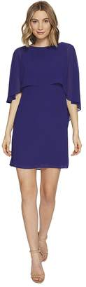 Vince Camuto Dress with Bateau Neckline and Cape Back Overlay Women's Dress
