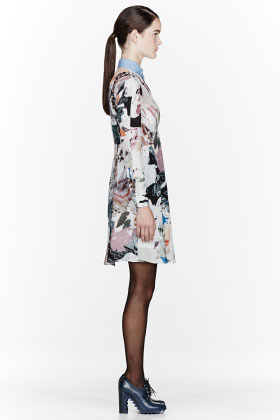 Carven Green & white collage dress