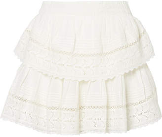 LoveShackFancy Crochet-trimmed Embroidered Cotton-voile Mini Skirt - Off-white
