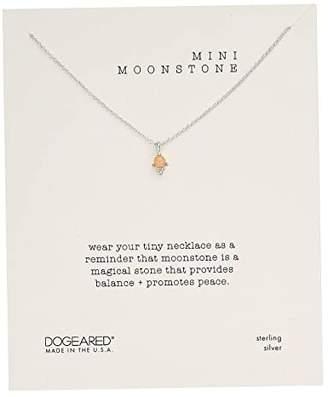 Dogeared Mini Moonstone, Dotted Bezal Peach Moonstone Necklace
