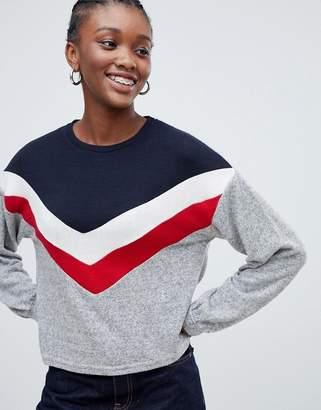 New Look Chevron Balloon Sleeve Sweater