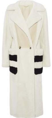 Max Mara Paneled Color-Block Shearling Coat