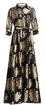 Teri Jon by Rickie Freeman Women's Collared Floral Belted Gown