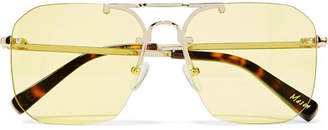 Elizabeth and James Mason Square-frame Pale Gold-tone Sunglasses - Yellow
