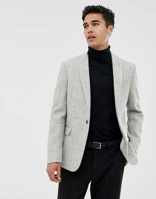 Asos Slim Suit Jacket In 100% Wool Harris Tweed In Light Grey