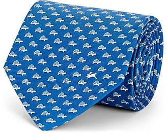 Salvatore Ferragamo Men's Turtle-Print Silk Twill Necktie - Blue