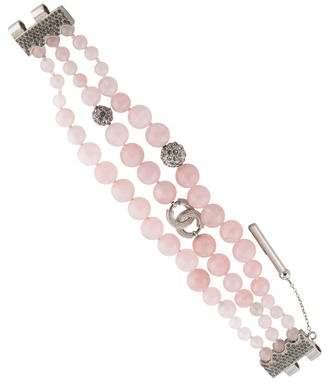 Chanel CC Rose Quartz & Crystal Multistrand Bead Bracelet