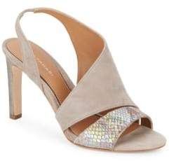 Elie Tahari Harper Suede & Iridescent Embossed Leather Asymmetrical Pumps