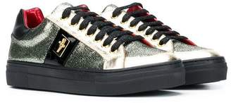 Cesare Paciotti Kids lace-up glitter sneakers