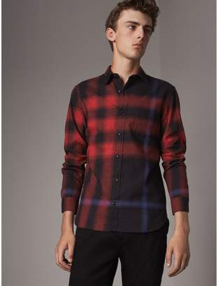 Burberry Ombré Check Cotton Flannel Shirt