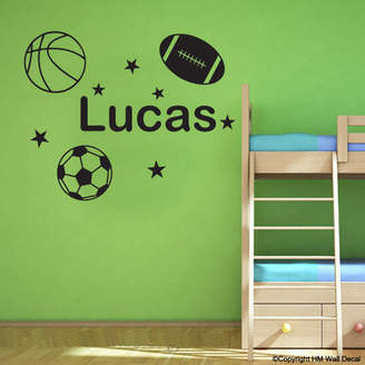 H&M Wall Decal Personalised Name with Soccer Ball - Basketball - Football Wall Sticker