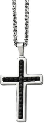 FINE JEWELRY Mens Stainless Steel & Black Leather Inlay Cross Pendant