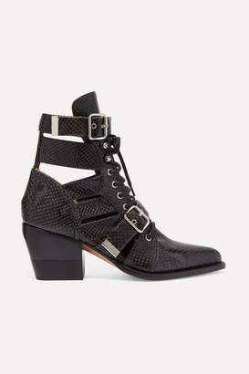 Chloé Rylee Cutout Snake-effect Leather Ankle Boots - Charcoal