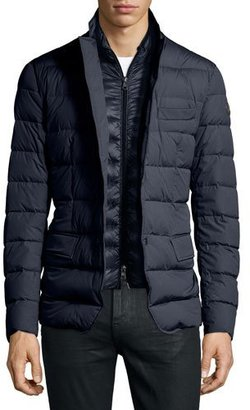 Moncler Ferrand Lightweight Two-Layer Down Blazer, Navy $1,195 thestylecure.com
