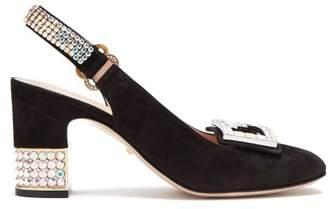 Gucci Madelyn Crystal Embellished Suede Slingback Pumps - Womens - Black