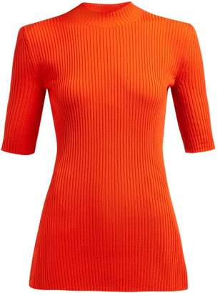 Kwaidan Editions High Neck Ribbed Wool Blend Top - Womens - Red