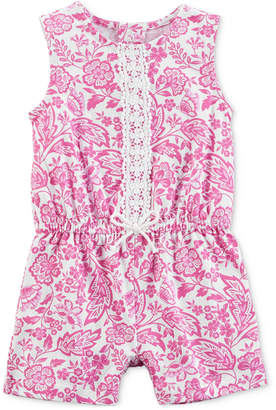 Carter's Printed Lace-Trim Cotton Romper, Baby Girls