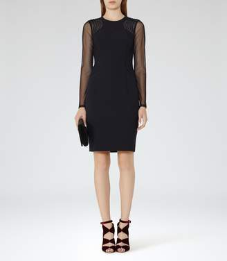 Reiss Robbi Mesh-Panel Cocktail Dress
