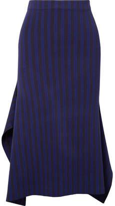 Jason Wu GREY Asymmetric Striped Stretch-jersey Midi Skirt