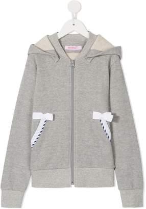 Familiar bow-detail zipped hoodie