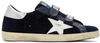Golden Goose Navy and White Corduroy Old School Superstar Sneakers