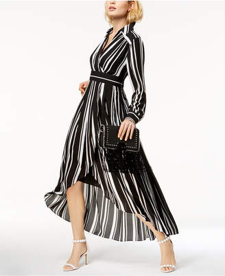 INC International Concepts I.N.C. Striped Faux-Wrap High-Low Dress, Created for Macy's