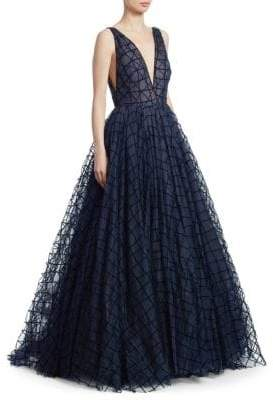 Oscar de la Renta Low-Cut Check Princess Gown