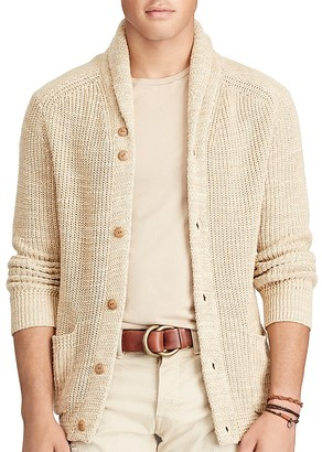 Polo Ralph Lauren Cotton Linen Shawl Collar Cardigan Sweater $225 thestylecure.com