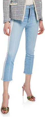 Veronica Beard Carly Kick Flare Jeans with Tuxedo Stripes