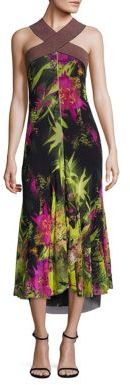 Fuzzi Tropical Floral Print Halter Dress $665 thestylecure.com