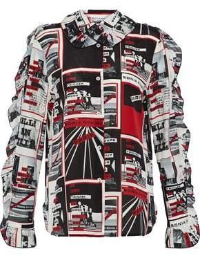Sonia Rykiel Ruffle-Trimmed Printed Silk-Chiffon Shirt