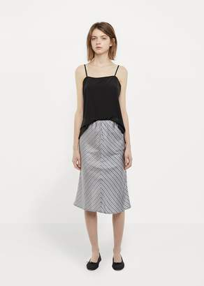 6397 Silk Slip Skirt Grey / Navy Stripe